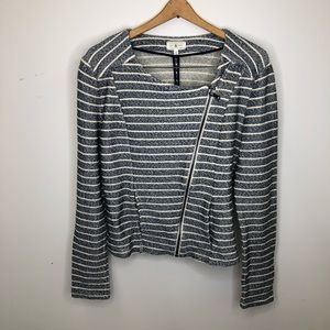 Lou & Grey Med Blue Striped Asymmetrical Jacket